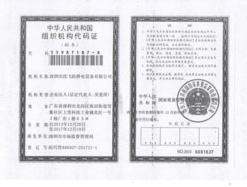 深圳沈飞-组织机构代码